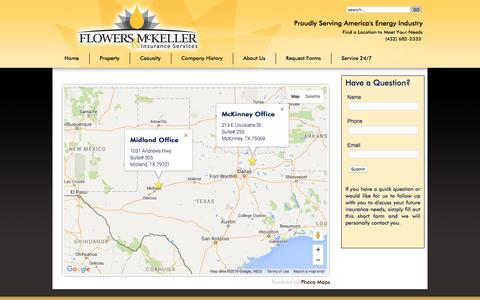 Screenshot of Locations Page fm-ins.com - Flowers & McKeller | Office Locations | Insurance Services | Oil & Gas Insurance - captured Feb. 10, 2016