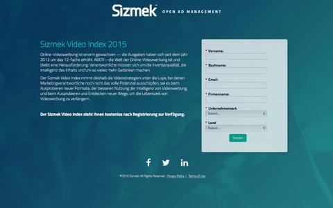 Screenshot of Landing Page sizmek.com - German Video Index - captured April 12, 2016