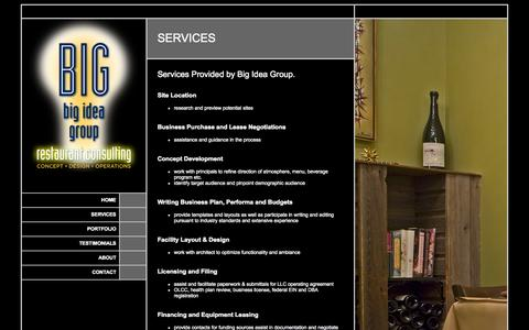 Screenshot of Services Page bigideapdx.com - Big Idea Group ~ Restaurant Services: Design, Operations, Consulting - captured Oct. 5, 2014