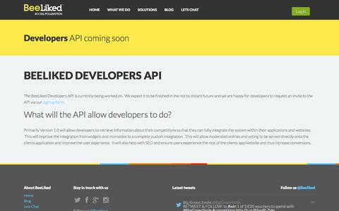 Screenshot of Developers Page beeliked.com - Social Media Marketing - BeeLiked :: Developers API - captured Sept. 19, 2014