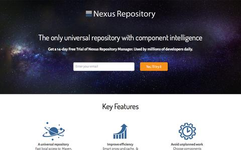 Screenshot of Trial Page sonatype.com - Nexus Repository Managers - Try, Compare & Buy - Nexus Repository Free Trial - v1 - Sonatype.com - captured Feb. 21, 2016