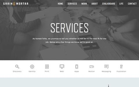 Screenshot of Services Page grainandmortar.com - Services | Grain & Mortar | Strategy + Branding + Design - captured Sept. 23, 2014