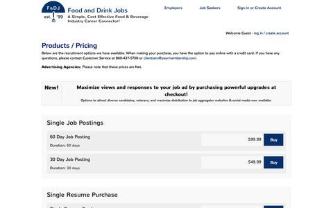 Screenshot of Pricing Page foodanddrinkjobs.com - Post Job Openings - Food and Drink Jobs - captured Aug. 4, 2016