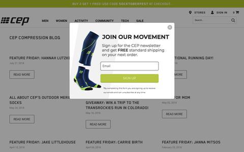 Screenshot of Press Page cepcompression.com - CEP Compression Blog | Athletic Compression Clothing News & Updates - captured Sept. 25, 2018
