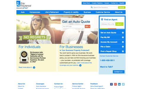 Screenshot of Home Page erieinsurance.com - Auto, Home, Life and Business Insurance | Erie Insurance - captured Jan. 22, 2015