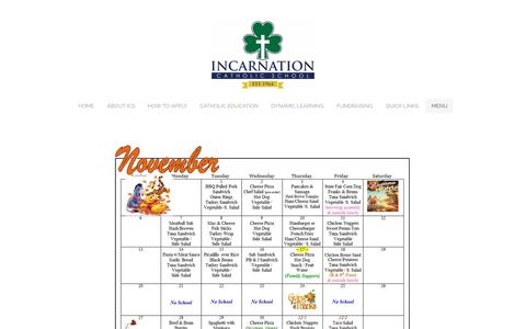 Screenshot of Menu Page icstampa.org - Menu - Incarnation Catholic School - captured Nov. 26, 2016
