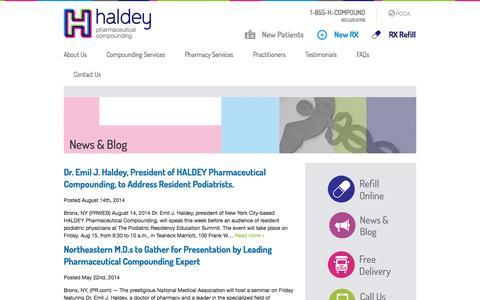 Screenshot of Blog hcompound.com - Haldey Compounding Pharmacy Blog | Welcome to Our Blog - captured Oct. 1, 2014