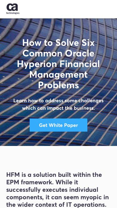 Screenshot of Landing Page  ca.com - How to Solve Six Common Oracle Hyperion Financial Management Problems - CA Technologies