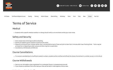Screenshot of Terms Page sydneyartschool.com.au - Terms of Service - captured June 18, 2017