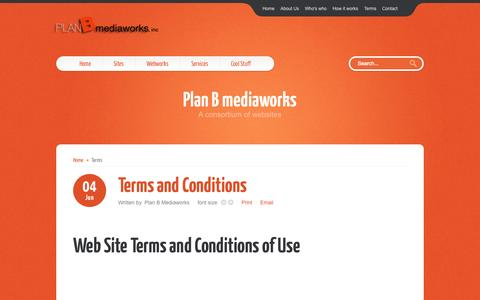 Screenshot of Terms Page planbmediaworks.com - Plan B mediaworks - Terms and Conditions - captured Oct. 2, 2014