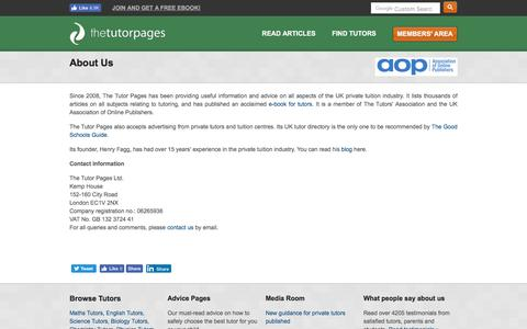 Screenshot of About Page thetutorpages.com - About The Tutor Pages - captured March 13, 2017