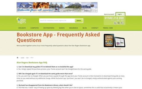 Screenshot of FAQ Page alanrogers.com - Campsite guides on iPad - Alan Rogers Guides for your iPad - captured Sept. 19, 2014