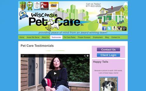Screenshot of Testimonials Page wisconsinpetcare.com - Pet Care Testimonials | Dog Walker | Pet Sitting | Milwaukee | Kenosha | Racine | East Side | Brookfield - captured Oct. 26, 2014