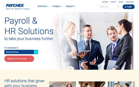 Screenshot of Home Page paychex.com - Payroll & HR Solutions | Paychex - captured Oct. 8, 2017