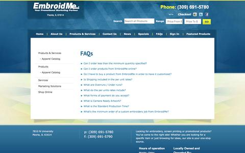 Screenshot of FAQ Page embroidme-peoria.com - FAQs - EmbroidMe Peoria - captured July 13, 2016