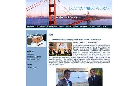 Screenshot of Press Page demtechventures.com - Demtech Ventures - captured Sept. 30, 2014