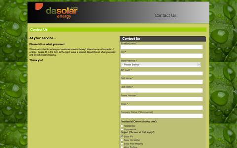 Screenshot of Contact Page dasolar.com - DASolar Contact Us - captured Sept. 19, 2014