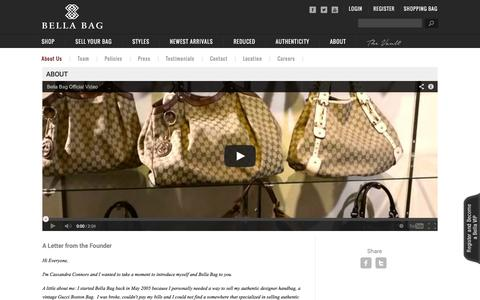 Screenshot of About Page bellabag.com - Authentic Louis Vuitton and Chanel Designer Bags - About Bella Bag - captured Sept. 19, 2014