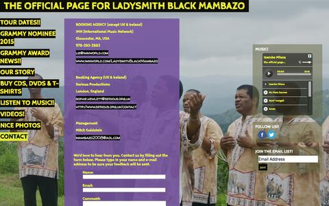 Screenshot of Contact Page mambazo.com - the official page for LADYSMITH BLACK MAMBAZO | MAMBAZO.COM | Contact - captured March 3, 2016