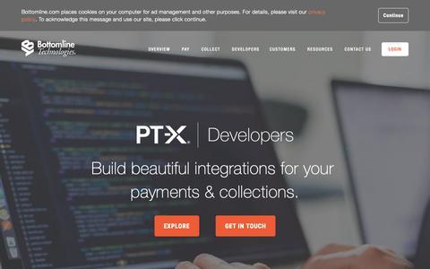 Screenshot of Developers Page bottomline.com - Developers - captured Oct. 1, 2018