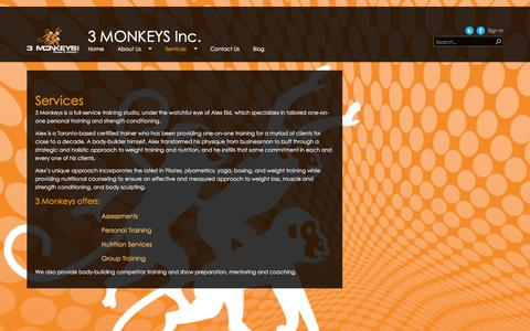 Screenshot of Services Page 3monkeysfitness.ca - Services - captured Oct. 27, 2014