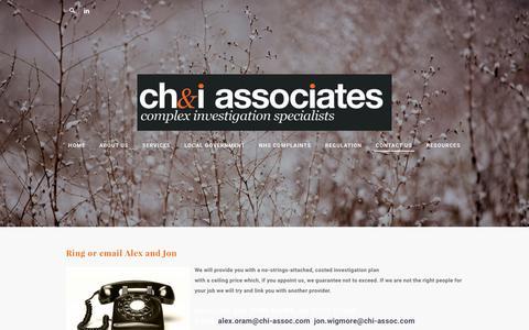 Screenshot of Contact Page chi-assoc.com - Contact Us - ch&i associates - captured Sept. 20, 2017