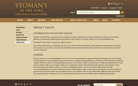 Screenshot of Privacy Page yeomansinthefork.com - Privacy Policy - captured Oct. 7, 2014