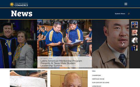 Screenshot of Press Page tamuc.edu - Home - News and Events for Texas A&M University-Commerce in East Texas - captured Oct. 18, 2018