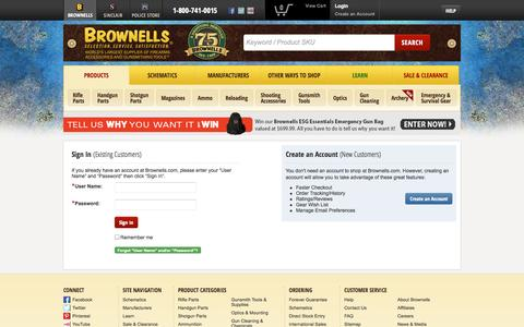 Screenshot of Login Page brownells.com - World's Largest Supplier of Firearm Accessories, Gun Parts and Gunsmithing Tools - BROWNELLS - captured Sept. 18, 2014