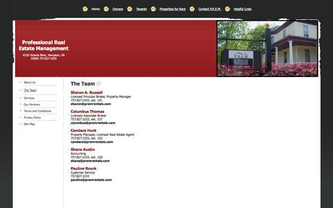 Screenshot of Team Page premrentals.com - Professional Real Estate Management - The Team - captured Oct. 3, 2014