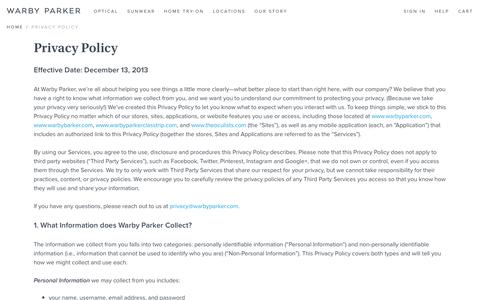 Screenshot of Privacy Page warbyparker.com - Privacy Policy | Warby Parker - captured Feb. 27, 2016