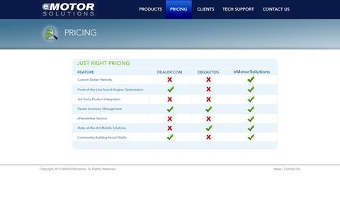 Screenshot of Pricing Page emotorsolutions.com - eMotorSolutions - Pricing - captured Sept. 30, 2014