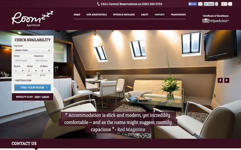 Screenshot of Contact Page roomzzz.co.uk - Contact Roomzzz Apart-Hotels in Leeds, Manchester & Newcastle - captured Sept. 22, 2014