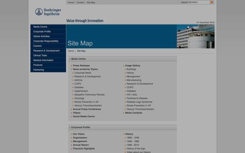 Screenshot of Site Map Page boehringer-ingelheim.com - Boehringer Ingelheim: Site Map - captured Dec. 31, 2015