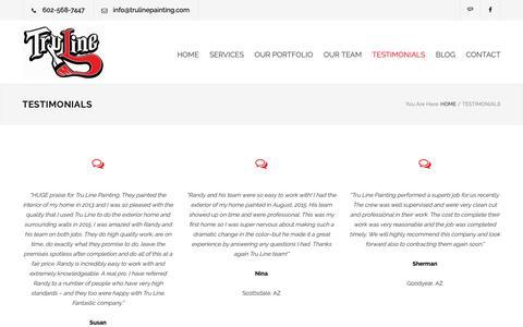 Screenshot of Testimonials Page trulinepainting.com - Testimonials – TruLine Painting | Residential House Painting – Phoenix AZ - captured Oct. 20, 2018