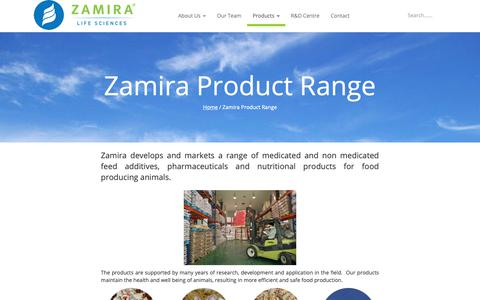 Screenshot of Products Page zamira.com.sg - Zamira Product Range | Zamira Life Sciences - captured Oct. 21, 2018