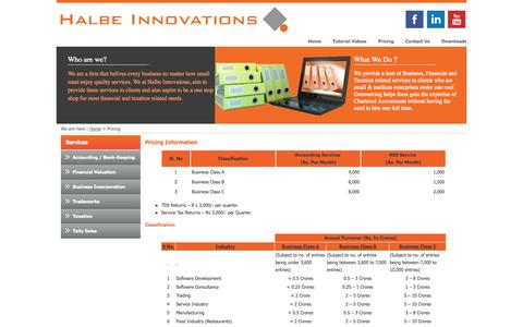 Screenshot of Pricing Page halbeinnovations.com - Halbe Innovations - One stop solution for all your accounting and auditing needs - captured Sept. 27, 2014