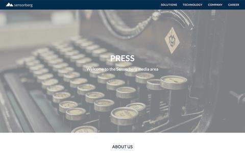 Screenshot of Press Page sensorberg.com - Sensorberg IoT - captured Aug. 1, 2017