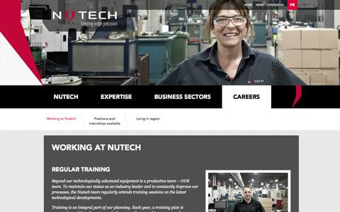 Screenshot of Jobs Page nutechcanada.com - Nutech > Working at Nutech - captured Oct. 6, 2014