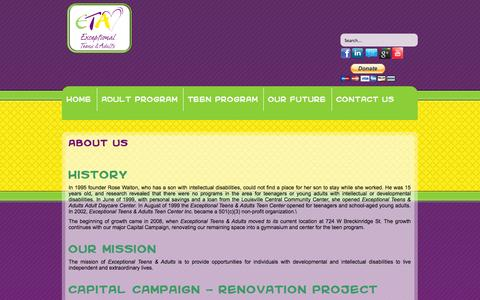 Screenshot of About Page exceptionalteensadults.org - About Us - Exceptional Teens & Adults - captured Oct. 3, 2014