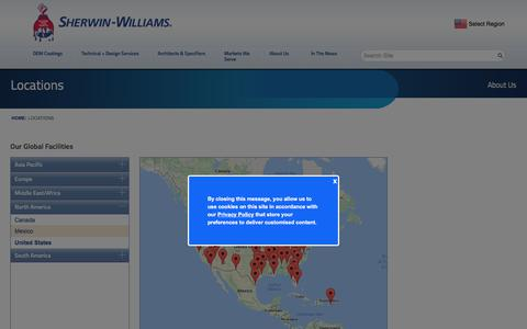 Screenshot of Locations Page sherwin-williams.com - About Us | Sherwin-Williams Product Finishes | Locations - captured June 1, 2017
