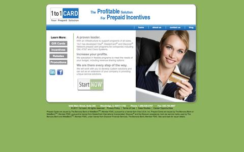 Screenshot of Home Page 1to1card.com - Corporate Prepaid Cards | Employee Reward Cards - captured Sept. 30, 2014