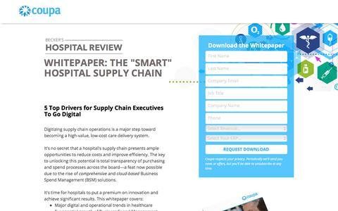 Screenshot of Landing Page coupa.com - Becker's Hospital Review | Healthcare Supply Chain Management Solutions | Coupa Software - captured April 26, 2018