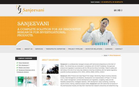 Screenshot of About Page sanjeevanibio.com - Sanjeevani Life Sciences - captured Oct. 4, 2014