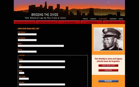 Screenshot of Signup Page mayortombradley.com - Join Our Mailing List - captured Oct. 7, 2014