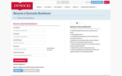 Screenshot of Signup Page dymocks.com.au - Join Dymocks Booklovers and start earning reward points | Dymocks - captured Nov. 2, 2014