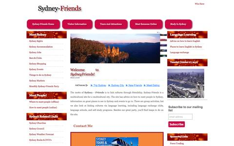 Screenshot of Home Page sydney-friends.com - Sydney Friends - captured Oct. 7, 2014