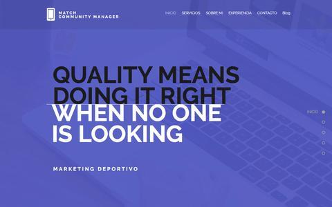 Screenshot of Home Page matchcm.com - Match Community Manager - Marketing Deportivo - captured Nov. 27, 2016