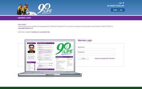 Screenshot of Login Page my90forlife.com - Back Office Login - captured Sept. 23, 2014