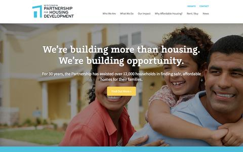 Screenshot of Home Page wphd.org - WPHD – Creating Homes. Building Opportunity. - captured Feb. 15, 2016